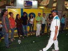 Luis Rojas, Daniel Cabriles y Rafael Guerrero en el Centro de Práctica y Exhibición de Golf EPA en el Sambil Maracaibo