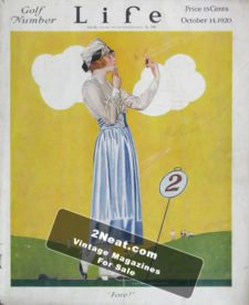 """LIFE Magazine 1920-10-14/ Woman putting on makeup on the golf course as other golfers wait, """"Fore!,"""" lovely art by C. Coles Phillips"""