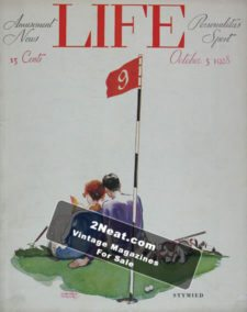 """LIFE Magazine 1928-10-05/ Cover Man and woman golfers sitting together on the green, """"Stymied"""", art by Garrett Price"""