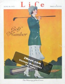 """LIFE Magazine 1921-06-16/ Woman golfer wearing smart green and white outfit """"The Wearing of the Green,"""" art by C. Coles Phillips"""