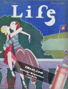 """LIFE Magazine 1927-03-03-1/ Golfer and girlfriend necking behind a bush near the 18th hole, """"The petting green,"""" art by John Held, Jr"""