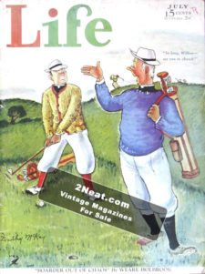 "LIFE Magazine 19340701/ Two golfers, ""So long, Wilbur – see you in church,"" art by Dorothy McKay"
