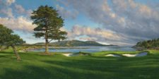 Hoyo 18 Pebble Beach (cortesía www.golfcourseartwork.com)