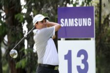 LIMA, PERU DECEMBER 18, 2013: Otto Solís of Venezuela hits driver off the tee at the 13th hole during the opening round of the Developmental Series Final Samsung Tournament at the Country Club La Planicie in Lima, Peru. / El venezolano Otto Solís pega el driver en el tee del hoyo 13 durante la primera ronda de la Final de la Serie de Desarrollo Samsung en el Country Club La Planicie en Lima, Perú.