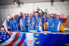 Beatriz Recari con el equipo europeo histórica victoria en la Solheim 2013