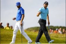 Sergio García & Dustin Johnson en green del 5 (Tom Pennington / Getty Images)