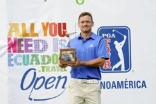 QUITO, ECUADOR - SEPTEMBER 28: Tyler McCumber from USA and the tournament Trophy of during the final round of the Ecuador Open at Quito Tennis and Golf Club on September 28, 2014 in Quito, Ecuador. (Enrique Berardi/PGA TOUR)
