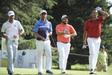 BUENOS AIRES, ARGENTINA (OCT. 24, 2014) Emilio Domínguez, Rafael Echenique, Roberto Díaz y Mauricio Azcué caminan juntos tras pegar sus golpes de salida en el tee del hoyo 14 durante la segunda ronda de la Bridgestone America's Golf Cup en Olivos Golf Club. (Enrique Berardi/PGA TOUR)