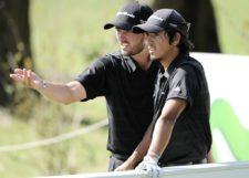 BUENOS AIRES, ARGENTINA - (OCT. 24, 2014) - Los argentinos Armando Zarlenga y Maxi Godoy en el tee del hoyo 17 durante la segunda ronda de la Bridgestone America's Golf Cup en Olivos Golf Club. (Enrique Berardi/PGA TOUR)