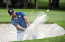 ESTADO DE MEXICO, MEXICO - OCTOBER 16: Julian Etulain of Argentina chips out of a bunker on the 15th hole during the first round of the 56ºTransAmerican Power Products CRV Mexico Open presented by Heineken at Club de Golf Chapultepec on October 16, 2014 in Estado de Mexico, Mexico. (Photo by Enrique Berardi/PGA TOUR)