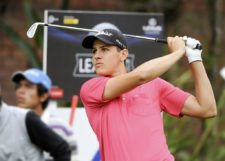 LIMA, PERU - OCTOBER 31: Rafael Becker of Brazil tees off on the fourth hole during the second round of the Lexus Perú Open presentado por Scotiabank at Los Inkas Golf Club on October 31, 2014 in Lima, Peru (Enrique Berardi/PGA TOUR)
