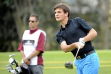 LIMA, PERU (NOV. 1, 2014) - El amateur peruano Alonso Palma pega su tiro de salida en el hoyo 14 durante la tercera ronda del Lexus Perú Open presentado por Scotiabank en el campo de Los Inkas Golf Club. (Enrique Berardi/PGA TOUR)