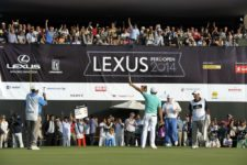 LIMA, PERU - NOVEMBER 2: Julian Etulain of Argentina celebrate the birdie of the 18th hole during the final round of the Lexus Perú Open presentado por Scotiabank at Los Inkas Golf Club on November 2, 2014 in Lima, Peru. (Enrique Berardi/PGA TOUR)