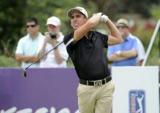 BUENOS AIRES, ARGENTINA (NOV. 29, 2014) - El mexicano Rodolfo Cazaubón pega su golpe de salida en el hoyo 1 durante la tercera ronda del Personal Classic en Las Praderas Club Campos de Golf. (Enrique Berardi/PGA TOUR)