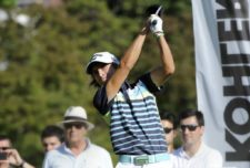 SANTIAGO, CHILE - NOVEMBER 15: Tommy Cocha of Argentina tees off on the 16th hole during the third round of the Hyundai - BBVA 88° Abierto de Chile at Los Leones Golf Club on November 15, 2014 in Santiago, Chile. (Enrique Berardi/PGA TOUR)