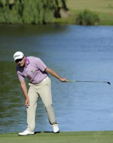 BUENOS AIRES, ARGENTINA - DECEMBER 5: Marcelo Rozo of Colombia missing his putt for eagle at eighth hole during the second round of the 109° VISA Open de Argentina presentado por Peugeot at Martindale Country Club on December 5, 2014 in Buenos Aires, Argentina. (Enrique Berardi/PGA TOUR)