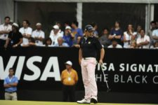 BUENOS AIRES, ARGENTINA - DECEMBER 7: Marcelo Rozo of Colombia lines up a putt on the 18th hole green during the final round of the 109° VISA Open de Argentina presentado por Peugeot at Martindale Country Club on December 7, 2014 in Buenos Aires, Argentina. (Enrique Berardi/PGA TOUR)