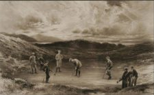 Pintura de Hoyo Punch Bowl en Royal Liverpool GC (1910) mostrando Harold Hilton, John Ball, CE Dick y John Graham (cortesía www.bonhams.com)