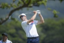 ANTIGUA GUATEMALA - MAY 24: Eric Dugas of the U.S tee off on the 10th hole during the PGA TOUR Latinoamérica final round of the Guatemala Stella Artois Open at La Reunion Golf Resort - Fuego Maya on May 24, 2015 in Antigua, Guatemala. (Enrique Berardi/PGA TOUR)