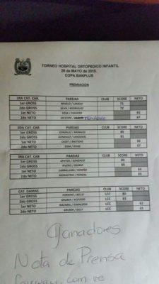 IX Torneo a beneficio del Hospital Ortopédico jugado en parejas en Lagunita