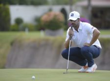 AGUASCALIENTES, MEXICO - MAY 16: Jose Garrido of Colombia lines up a putt on the 15th hole green during the third round of the 57º Abierto Mexicano de Golf at Club Campestre Aguascalientes on May 16, 2015 in Aguascalientes, Mexico. (Enrique Berardi/PGA TOUR)