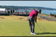 Martin Kaymer practices on the 17th hole (cortesía USGA)