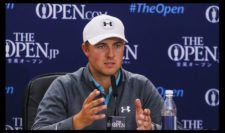 Jordan Spieth interviewed by the media during a press conference after his third round (Photo by Ross Kinnaird-R&A-R&A via Getty Images)