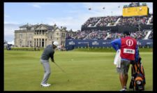 Jordan Spieth of the United States chips onto the 18th green during the third round of the 144th Open Championship at The Old Course on July 19, 2015 in St Andrews, Scotland. (Photo by Stuart Franklin-Getty Images)