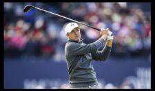 Jordan Spieth of the United States tees off on the 18th hole during the third round of the 144th Open Championship at The Old Course on July 19, 2015 in St Andrews, Scotland. (Photo by Stuart Franklin-Getty Images)