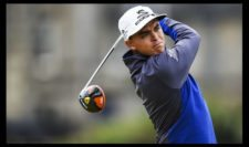 Rickie Fowler of the United States tees off on the 2nd hole during the third round (Photo by Stuart Franklin-Getty Images)