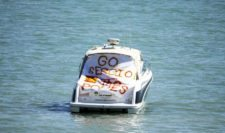 A boat with a sign supporting Sergio Garcia of Spain is seen on the water during a practice round prior to the 2015 PGA Championship at Whistling Straits on August 12, 2015 in Sheboygan, Wisconsin (Photo by Richard Heathcote/Getty Images)
