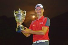 RIO DE JANEIRO, BRAZIL - SEP. 27, 2015: Alexandre Rocha of Brazil holding the tournament trophy after his victory at the Aberto do Brasil presented by Credit Suisse Hedging Griffo at Itanhangá Golf Club on September 27, 2015 in Rio de Janeiro, Brazil. (Enrique Berardi/PGA TOUR)