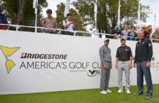 Lisandro Borges, CEO del evento con Tiger Woods y Matt Kuchar / Gentileza: Enrique Berardi/PGA TOUR