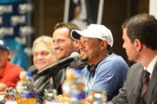 Tiger Woods durante la conferencia de prensa de la Bridgestone America's Golf Cup presentado por Value / Gentileza: Enrique Berardi/PGA TOUR