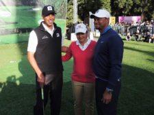 Matt Kuchar, Lorena Ochoa y Tiger Woods durante la clínica que realizaron en el Bosque de Chapultepec / Gentileza: Bridgestone México