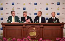 Chairman AugustaNationalGC & Masters Billy Payne, R&A Chief Executive Martin Slumbers, PGA of America Chief Executive Pete Bevacqua & USGA Director Mike Davis anuncian q'ganadores Olympic golf (cortesía Augusta National Inc.)