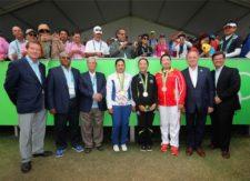 Lydia Ko, medallista de plata, Inbee Park, medallista de oro y Shanshan Feng con su medalla de bronce (cortesía S Warren Little/Getty/IGF)