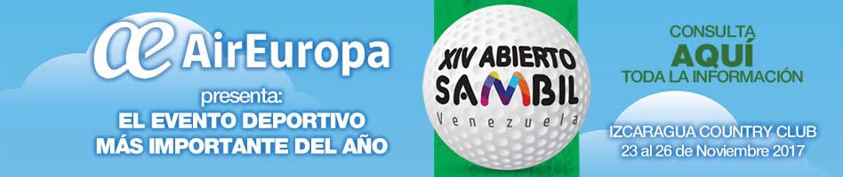 AirEuropa presenta el XIV Abierto Sambil, Izcaragua Country Club, 23 al 26 de noviembre