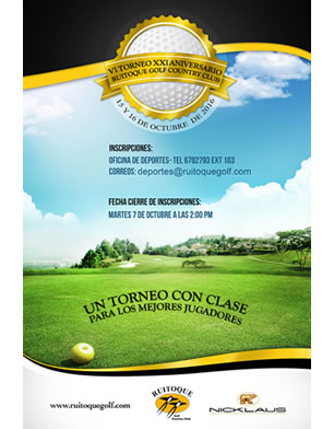 VI Torneo XXI Aniversario Ruitoque Golf Country Club, 15 y 16 de Octubre