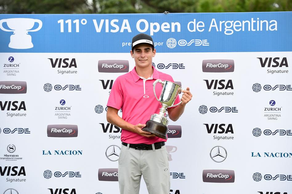 Joaquín Niemann (CHI) fue el mejor aficionado y ganó la Copa Emilio Pereyra Iraola / Foto: Gentileza Enrique Berardi/PGA TOUR