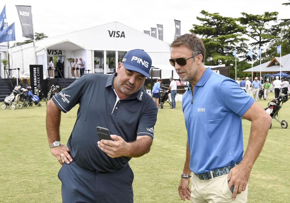 Ángel Cabrera y Gabriel Batistuta disfrutaron del Pro-Am en el Olivos Golf Club / Foto: Gentileza Enrique Berardi/PGA TOUR