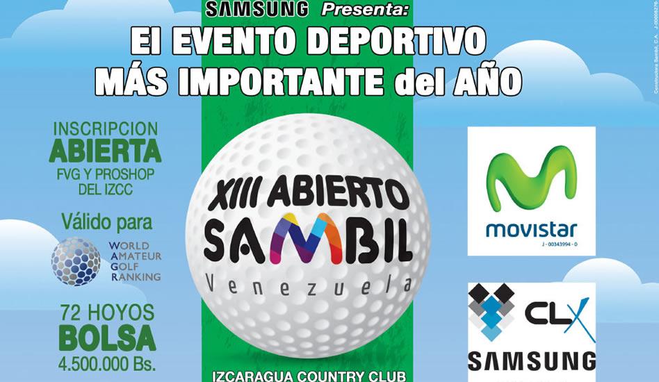 XIII Abierto Sambil horarios de salida pre-clasificación de las categorías 3ra, 4ta, y Damas