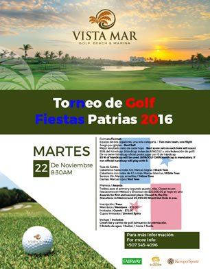 Torneo de Golf Fiestas Patrias 2016, 22 de Noviembre. Vista Mar Golf, Beach & Marina