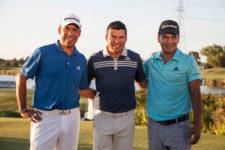 Miguel Ángel Carballo, Andrés Romero y Fabián Gómez, los jugadores del PGA TOUR que están presentes esta semana en el Andrés Romero Invitational / Foto: Gentileza Olivia Calatayud