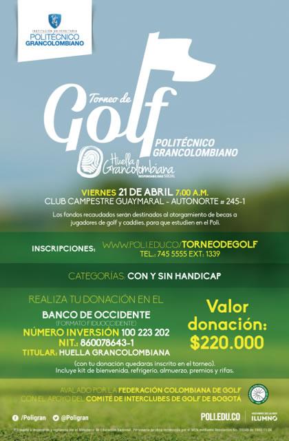 El Politécnico Gran Colombiano y el Comité Interclubes de Golf unen esfuerzos por una buena causa