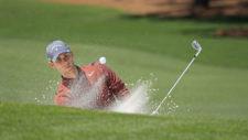 Thomas Pieters sale de un bunker en el hoyo No. 7 (cortesía Augusta National Golf Club)