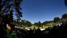 Vijay Singh, Emiliano Grillo y Toto Gana en el hoyo No. 7 (cortesía Augusta National Golf Club)