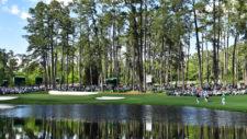 Vista del hoyo No. 16 green durante la segunda ronda (cortesía Augusta National Golf Club)