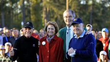 Arnold Palmer con Gary Player, Jack Nicklaus y Billy Payne (cortesía Augusta National Golf Club)