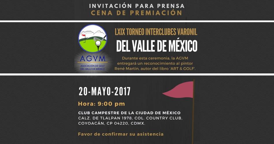 Invitación a la cena de premiación del LXIX Torneo Interclubes Varonil del Valle de México